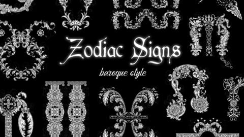 Zodiac Signs in Old Baroque Style