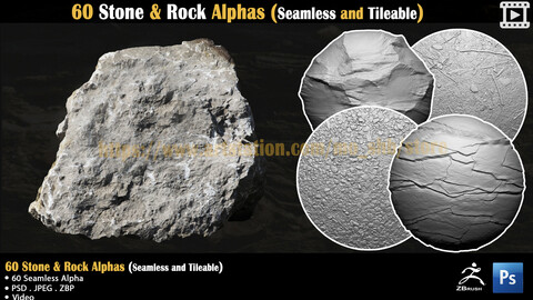 60 Stone & Rock Alphas (Seamless and Tileable) + Video