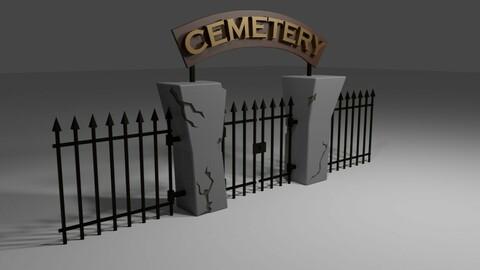 Cemetery Gate - Portao do Cemiterio Low-poly 3D model
