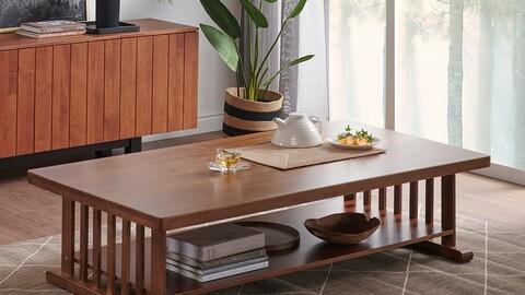 Garam Ash Solid Wood Shelf Table