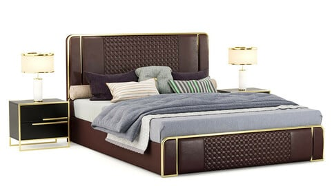 Modern leather upholstered bed