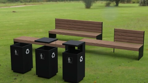Park Bench Set with Trash Cans