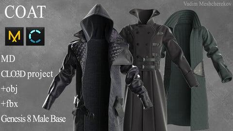 Coat Marvelous Designer / Clo 3D project +obj / fbx