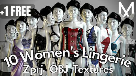 10 Realistic women's lingerie (Marvelous Designer + Clo3d + OBJ + Texture)