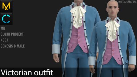 Victorian outfit Marvelous Designer / Clo 3D project +obj
