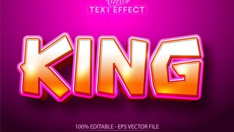 King text, cartoon style editable text effect