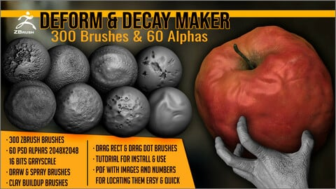 Deform And Decay Maker: 300 ZBrush Brushes And 60 Alphas