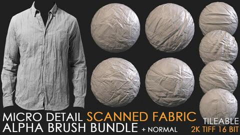 SCANNED FABRIC micro detail alpha brush bundle (alpha tiff 16 bit + normal) 2K