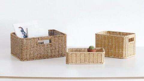 PP rattan rectangular storage basket