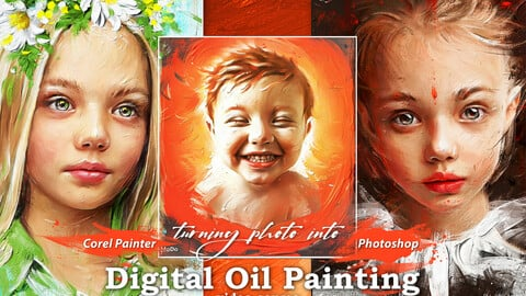 """Digital Oil Painting video course """"Plus"""" extra textures and brushes."""