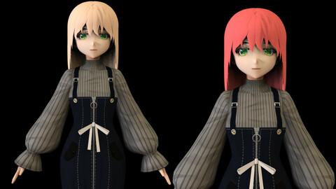 Anime Girl Low Poly Character 4
