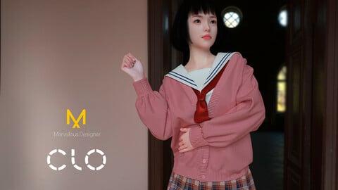 Japan school uniform with cardigan. MD, Clo3d project files and renders. Genesis 8 Female Avatar. OBJ + FBX files