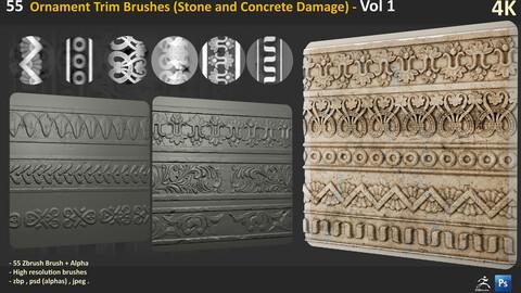 55 Ornament Trim Brushes (Stone and Concrete Damage) - Vol 1
