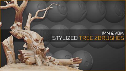 Stylized tree and wood zbrushes