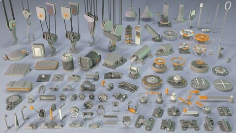 Industrial Kitbash 5 - 100 pieces