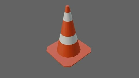 Street Cone Low-poly 3D model