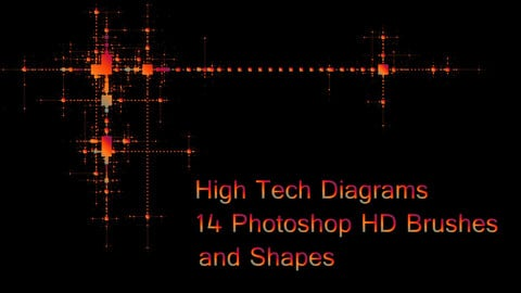 High Tech Diagrams - 14 Photoshop HD Brushes and Shapes + AI, EPS, JPG, PSD, PNG