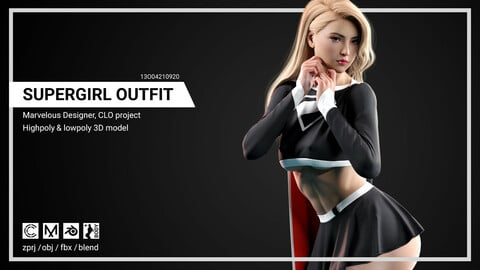 Cute Super Girl Outfit - Marvelous Designer, CLO project.