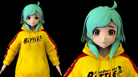 Anime Girl Low Poly Character 8