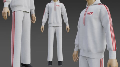 3D Male Tracksuit - Sweatpants and Sweatshirt Hoodie