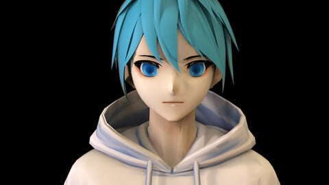 Anime Boy Low Poly Character 13