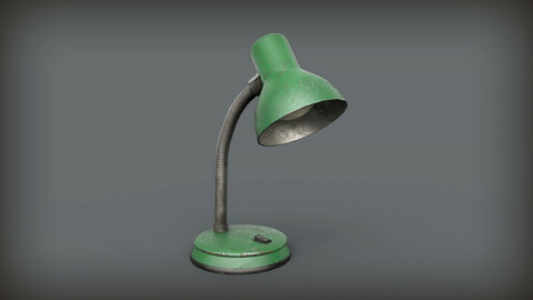 Old Retro Table Lamp Low Poly