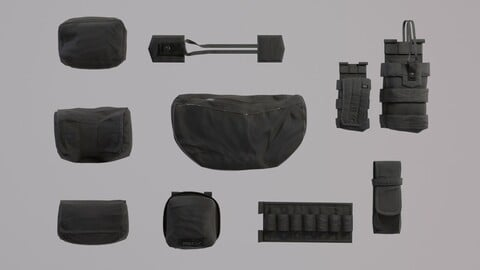 Tactical Pouches Kitbash - PBR Lowpoly Game ready