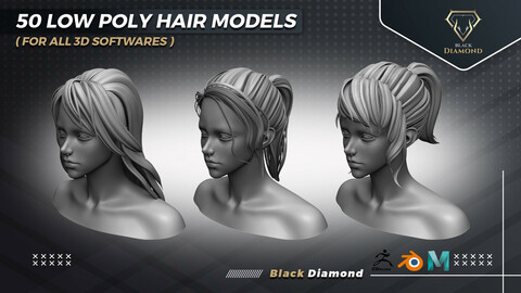 50 Low Poly Hair Models ( For All 3d Softwares )