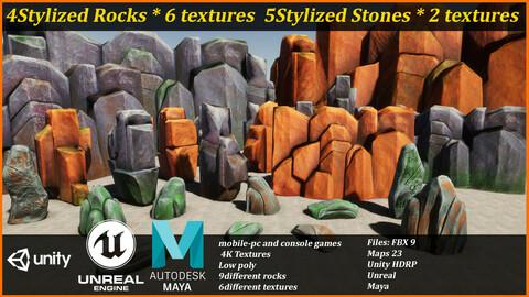 Stylized Rocks-Low poly-stone-/Rock/-Unity-Unreal-Maya-mobile game