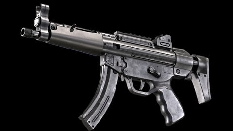 MP5 SMG PBR Worn Low-poly 3D model
