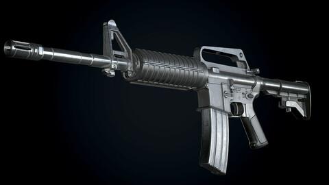 CAR-15 Assault-Rifle Worn PBR Low-poly 3D model