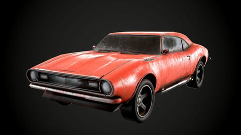 Camaro SS 1967 4 COLORS PBR Dusty Worn Low-poly 3D model