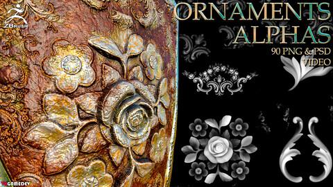 90+ Ornament Alphas (ZBRush, Substance)