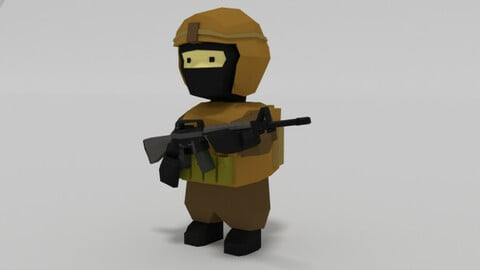 Low Poly Rigs Soldier Modelo 3D