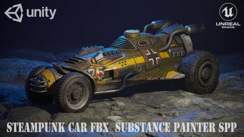 Steampunk car FBX  Substance Painter SPP