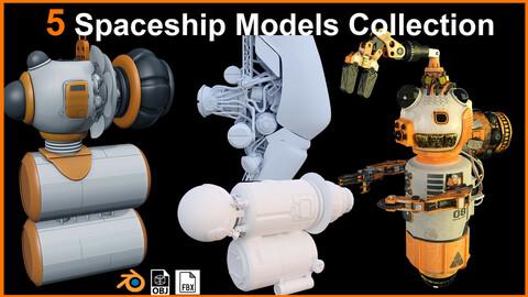 5 Unique Spaceship Models Collection |  FBX, OBJ & Blend file