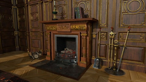 Victorian living room with fireplace
