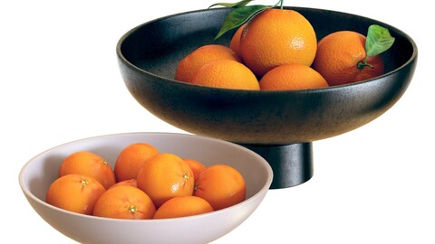 3D Model / Food Set 04 / Bowls with Oranges and Clementines