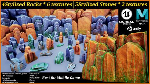 Stylized Rock_Low poly_stone_unity_unreal_Maya_mobile game