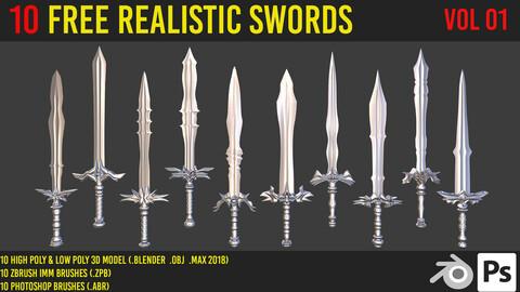 10 free realistic swords 3d model + zbrush brushes + photoshop brush