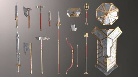 Fantasy Set Of Gnome Weapons