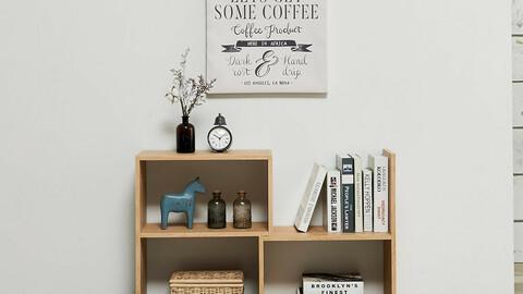 DIY horizontal width adjustable 2-tier bookcase mini storage cabinet