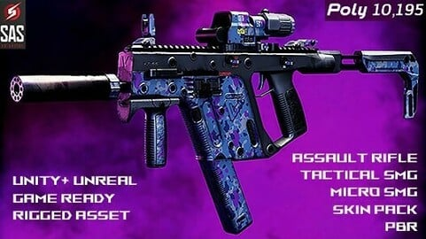 Kriss Vector Gen 2 Assault Rifle + Tactical SMG + Micro SMG in AAA Quality PBR + Bonus Skin Pack   Unity + Unreal