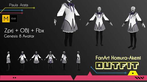 Fan-Art Homura-Akemi Marvelous Designer/Clo3d project + OBJ + FBX