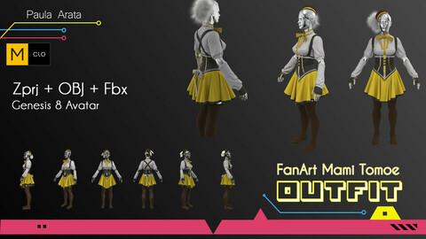 Fan-Art Mami Tomoe Marvelous Designer/Clo3d project + OBJ + FBX