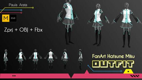 Fan-Art Hatsune-Miku Marvelous Designer/Clo3d project + OBJ + FBX