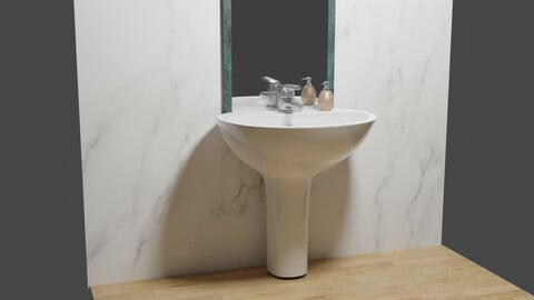 WashBasin and Mirror Low-poly 3D model