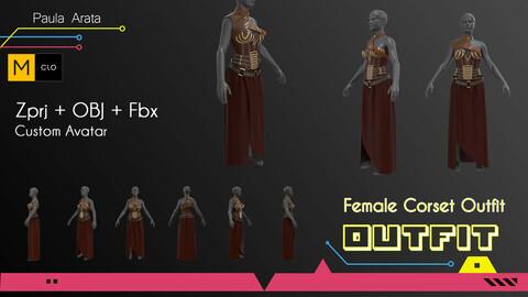 Female Corset Outfit Marvelous/CLO project +OBJ+FBX