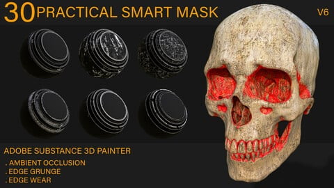 30 Practical Smart Mask - (Ambient Occlusion , Edge Wear , Edge grunge) Adobe Substance Painter - vol6