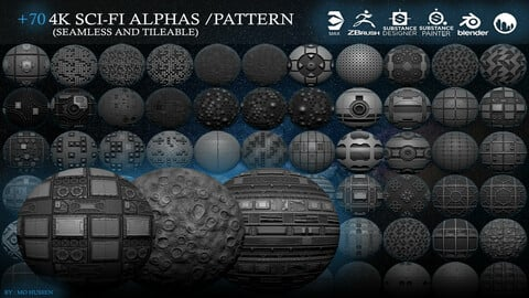 70 4k SCI-FI Alphas /PATTERN (Seamless and Tileable)